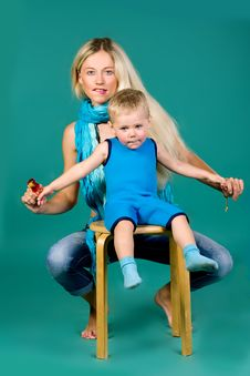 Free Portrait Of Blonde Mom And A Son Stock Images - 25227054
