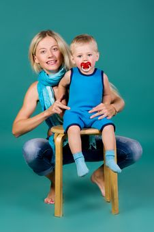 Free Portrait Of Blonde Mom And A Son Stock Images - 25227094