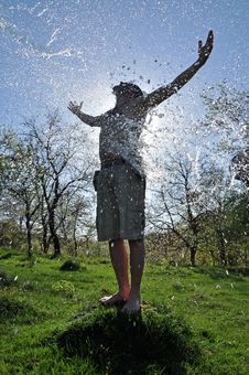 Free Young Man Enjoys The Water Splash In The Outdoors Royalty Free Stock Photo - 25229715