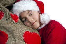 Free Tired Santa Boy Stock Photography - 25230132