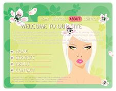 Free Beauty Website Template With Beautiful Girl Stock Photography - 25232622