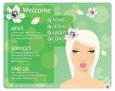 Free Beauty Website Template With Beautiful Girl Stock Photos - 25232763