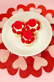 Free Heart Shapes And Cupcakes Stock Images - 25234874