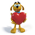 Free Brown Cartoon Dog Holding A Heart Royalty Free Stock Image - 25241016