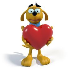 Brown Cartoon Dog Holding A Heart Royalty Free Stock Image