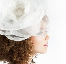Free Happy Beautiful Girl With White Bow In Curly Hair Royalty Free Stock Photography - 25241337