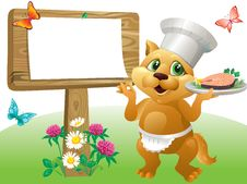 Free Cat Chef Sign Royalty Free Stock Image - 25242106