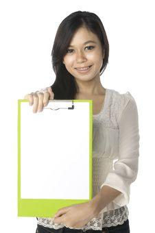 Woman Show Clipboard Royalty Free Stock Photos