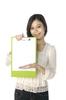 Woman Show Clipboard Stock Photography