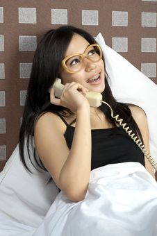 Free Woman Calling In Bed Royalty Free Stock Images - 25246219