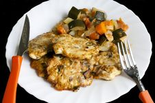 Chicken Cutlets With Vegetables Stock Photography