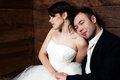 Free Couple In Their Wedding Clothes In Barn With Hay Stock Photos - 25254413