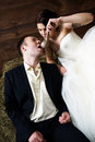Free Couple In Their Wedding Clothes In Barn With Hay Stock Photography - 25254592