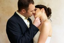 Free Groom Kisses Bride In Empty Room Royalty Free Stock Photo - 25253395