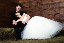 Free Bride Lying On Groom S Lap In Barn Royalty Free Stock Photography - 25254167