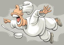 Free Shocked Flying Restaurant Chef Royalty Free Stock Photos - 25256378