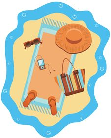 Free Bright Beach Set. Stock Image - 25256691
