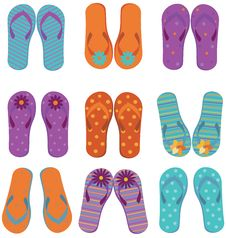 Flip Flops Set. Stock Photography