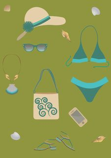 Free Set For Beach. Royalty Free Stock Photography - 25256977