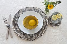 Free Table Setting With Beaded Mats Royalty Free Stock Image - 25263876