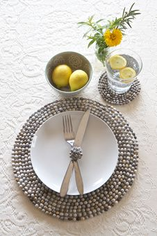 Free Table Place Setting With Beaded Mats Stock Photography - 25263882
