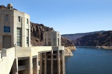 Lake  Mead And Hoover Dam Stock Photo