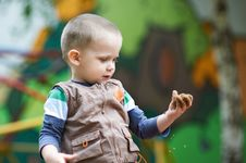 Free Small Child Plays With Sand On Hand Royalty Free Stock Photo - 25267985
