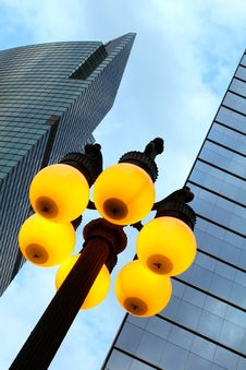 Free Street Lamp And Skyscrapers Stock Images - 25273114