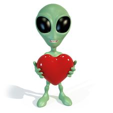 Little Green Alien Holding A Red Heart Stock Photography