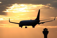 Free Passenger Aircraft Landing With Dramatic Sky Royalty Free Stock Image - 25279466