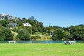 Free Bench And Lawn On The Lake Royalty Free Stock Images - 25289719