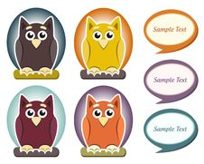 Cartoon Owl With Speech Bubble Stock Photos