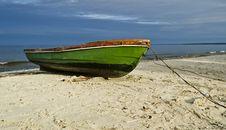 Fishing Boat On Sandy Beach, Latvia, Europe Stock Photography