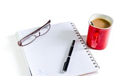 Notebook, Pen, Coffee Red Cup Royalty Free Stock Image