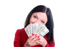 Free Girl And Money  Isolated Stock Photography - 25290922