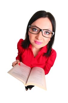 Girl With A Book Isolated Stock Photography