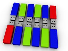 Colorful Flash Drives Stock Image