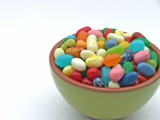 Free Jelly Beans In Mini Green Bowl Stock Photo - 2531760