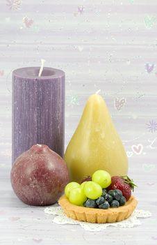 Fruit Tart And Candles Stock Photos
