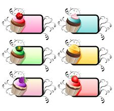 Free Fruit Cupcakes With Ornamental Label Stock Image - 25302711