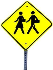 Free School Crossing Sign Royalty Free Stock Photography - 25306117