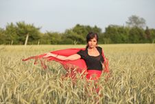Woman In Red Dress Royalty Free Stock Photography