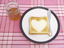 Heart Toast And Honey Stock Photos