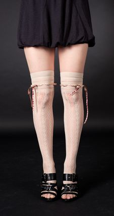 Free Slim Female Legs In Stockings Stock Image - 25318811