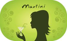 Free Woman With Glass Of Martini. Royalty Free Stock Photography - 25319237