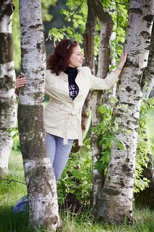 Free The Woman Among Birches. Stock Images - 25319444