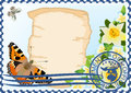 Free Postage Stamp. Paper, Butterflies And Flowers Stock Photos - 25321853