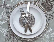 Free Table Place Setting With African Beaded Place Mats Stock Photo - 25320420