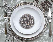 Table Place Setting With Beaded Mats Stock Photography