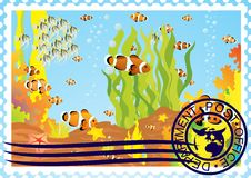 Free Postage Stamp With The Underwater World Royalty Free Stock Photos - 25321798